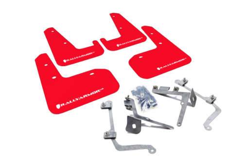 Rally Armor MF19-UR-RD/WH UR Mud Flaps Red Urethane White Logo Subaru WRX/STI Sedan 2011-2014